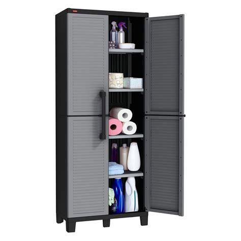 keter tall utility cabinet keter space winner adjustable garage storage gray resin