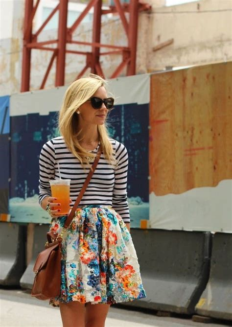 Striped And Floral Skirt best floral print skirt 2018 fashiontasty