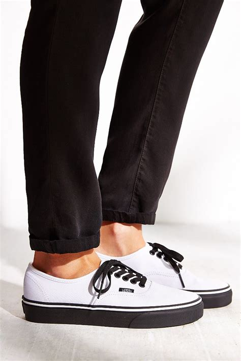 black sneakers white sole vans authentic black sole sneaker in white lyst