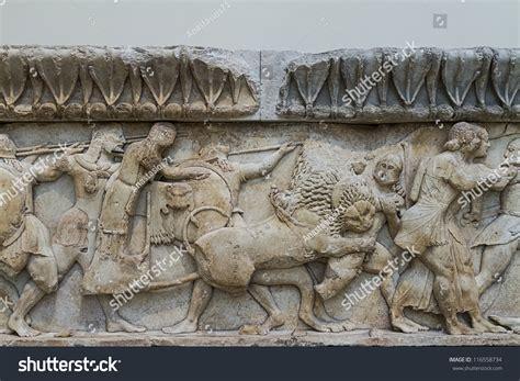 frieze pattern history ancient greek temple frieze delphi greece stock photo
