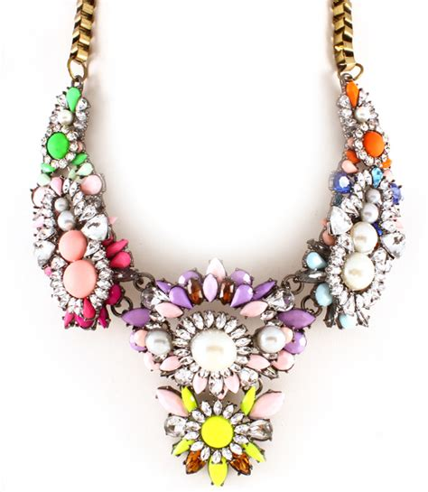colorful statement necklace colorful statement necklaces shourouk necklace chunky