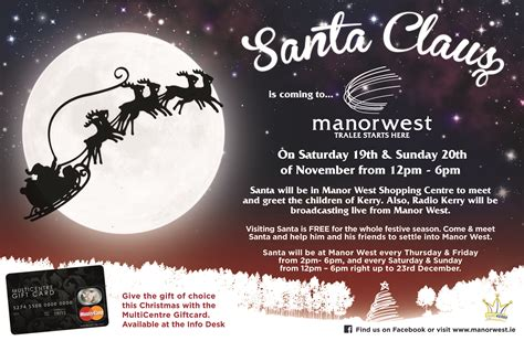 Multicentre Gift Card - manor west santa is back in manor this christmas