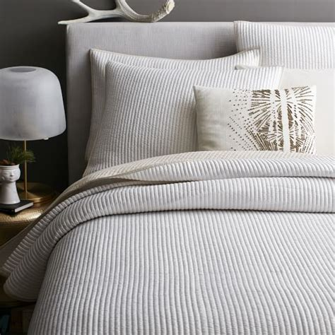 linen quilts coverlets channel stitch coverlet west elm