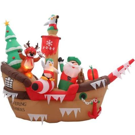 blow up santa in a boat home accents holiday 8 ft h inflatable giant christmas