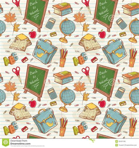 pattern school vector back to school seamless pattern with various study stock