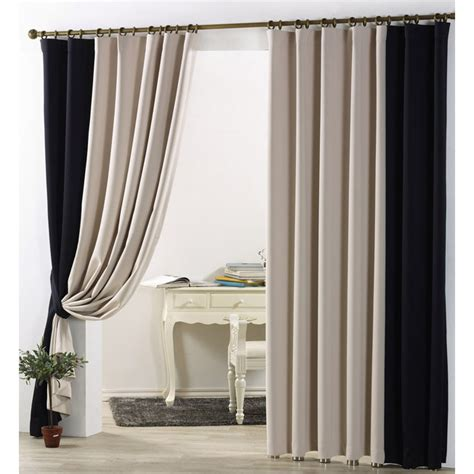 simple casual blackout curtain in beige and black color