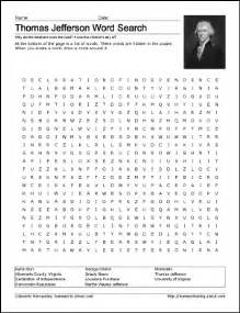 thomas jefferson wordsearch worksheets coloring pages