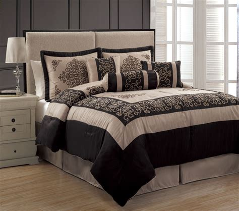 taupe bedding sets 7pcs queen isabella taupe and black comforter set ebay