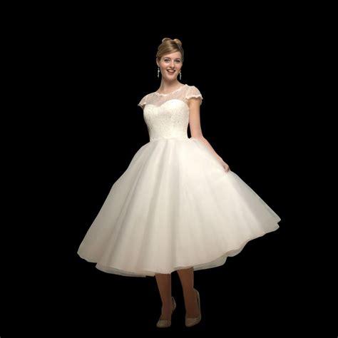 Tea Length Wedding Dresses by Lilyanna Tea Length Wedding Dress With Sleeves By White