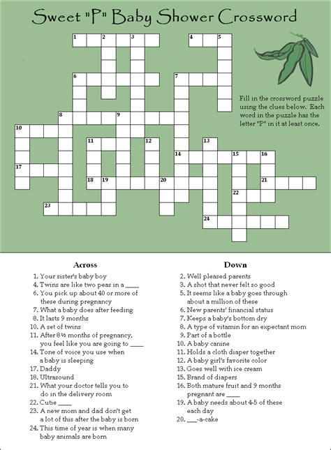 free printable bridal shower crossword puzzle a fun and free baby shower crossword puzzle