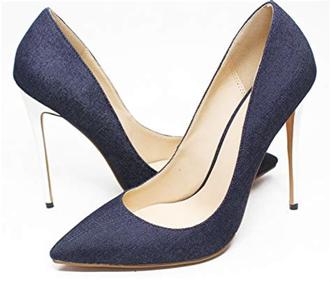 large high heels guoar womens pointed toe high heels large size denim blue