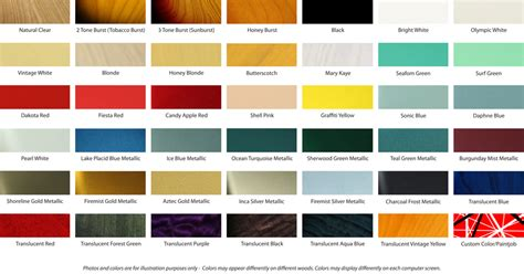 fender color chart best fender 2017
