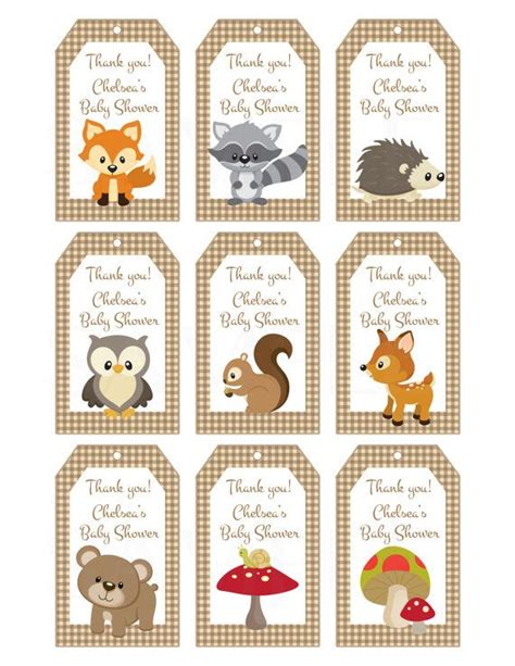 printable animal gift tags woodland friends forest animals theme baby shower favor