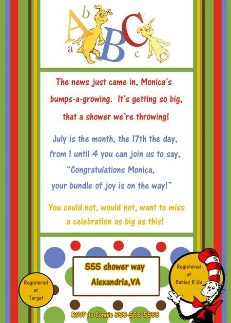 Dr Seuss Baby Shower Gifts by Dr Seuss Baby Shower Invitation Dr Seuss Baby Gifts