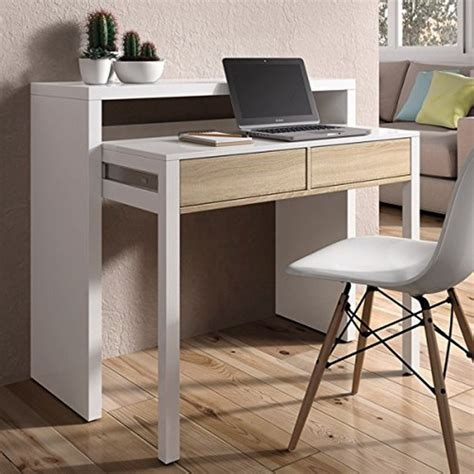 adosados en silla mesa consola escritorio extensible blanco brillo y roble