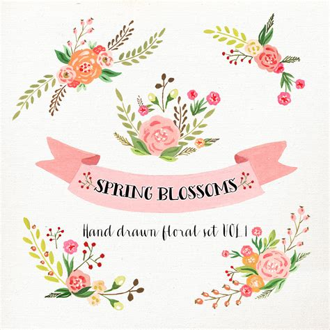 floral wedding clipart watercolor flower clipart wedding floral clip floral