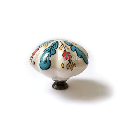 ceramic kitchen cabinet knobs 2pcs 48mm euro hand painted country leaf ceramic cabinet