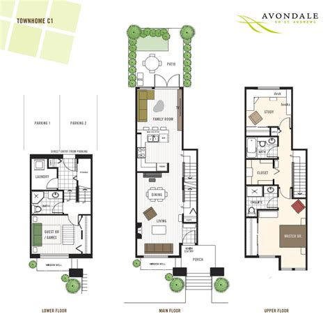 townhouse floor plan townhome floorplans find house plans