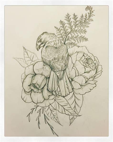 hawk tattoos designs hawk peony interested in custom drawings