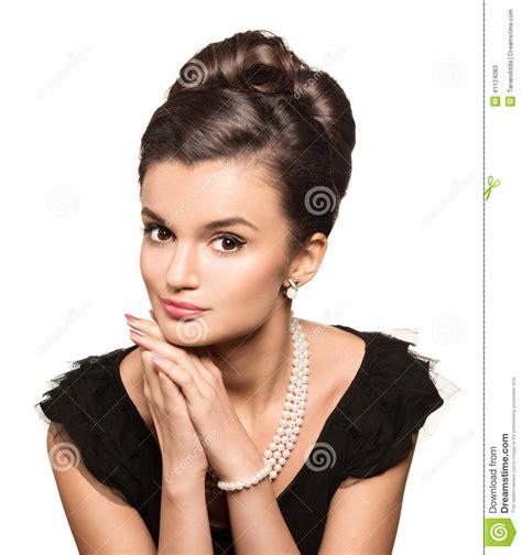 older women wearing jewelry portrait of beautiful brunette woman wearing pearl jewelry