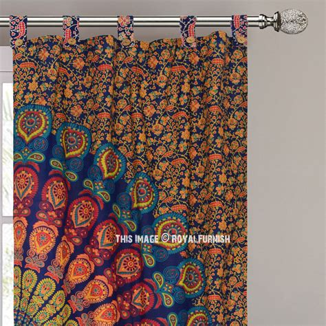 tapestry curtains sale blue yellow hippie medallion mandala window curtains