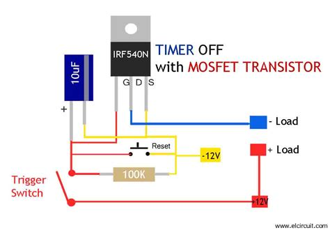 mosfet transistor switch circuit mosfet timer circuit simple and easy to make electronic circuit