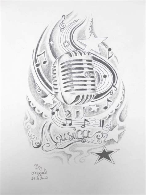 vintage microphone tattoo designs style microphone with ancient micro