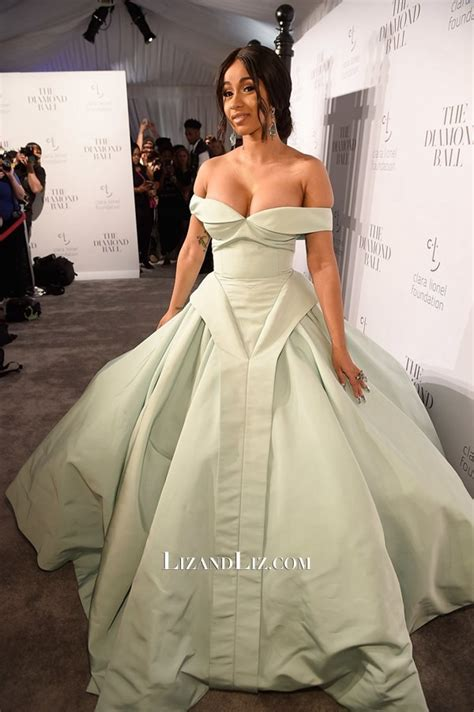 Cardis Dress cardi b mint green the shoulder gown prom dress 2017