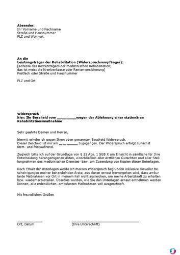 Brief An Krankenkasse Kostenübernahme Vorlage Muster Widerspruch Wegen Der Ablehnung Einer Station 228 Ren Rehabilitationsma 223 Nahme Sonstiges
