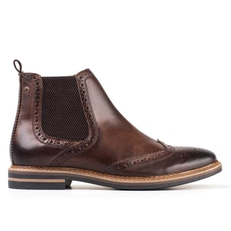 mens leather chelsea boots uk base mens leather brogue chelsea boots cocoa