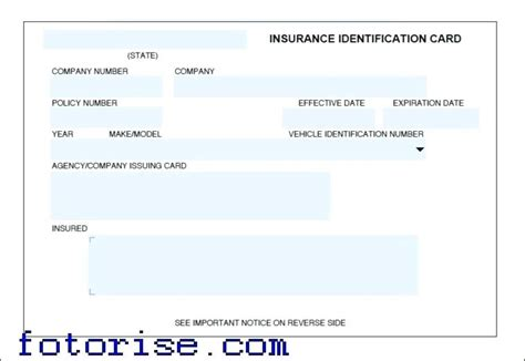 Sle Insurance Card Template by Auto Insurance Card Template Free Vehicle