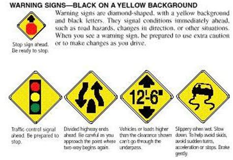 what color are warning signs traffic signs regulatory signs road signs