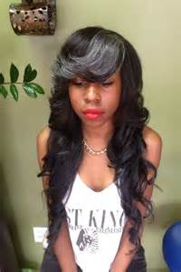 Layered weave with bangs long layered weave with gray