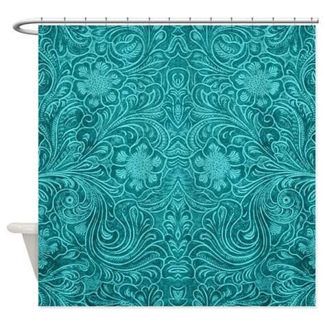 cafepress com shower curtains leather look floral turquoise shower curtain by artonwear