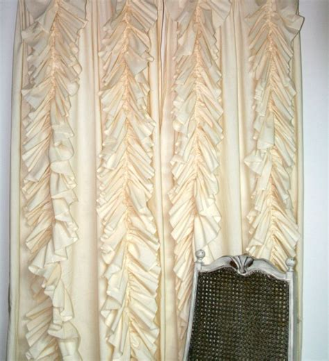 ruffle curtain panel anthropologie inspired ruffled panel curtain unlined cream