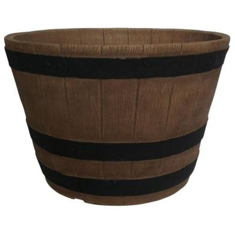 home depot barrel planter planters 20 in oak resin whiskey barrel