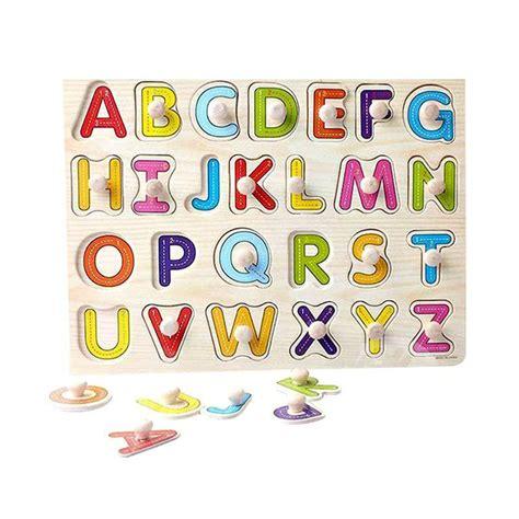 Mainan Anak Puzzle Belajar Huruf jual mao knob kayu huruf puzzle mainan anak harga kualitas terjamin blibli
