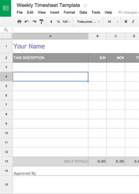 Time Card Template Docs free weekly timesheet template for docs aka