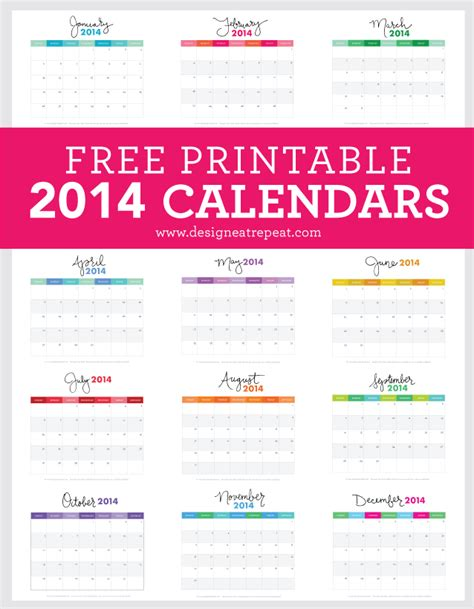 Design Eat Repeat Calendar | 10 free oh so pretty and practical printable calendars for