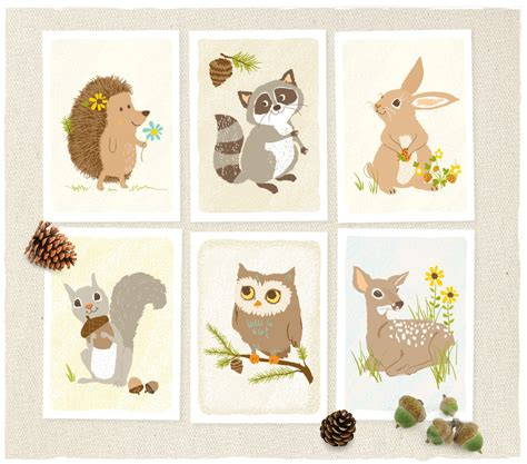 Woodland Forest Critters Prints Ideas For Boy Room Forest Nursery Decor