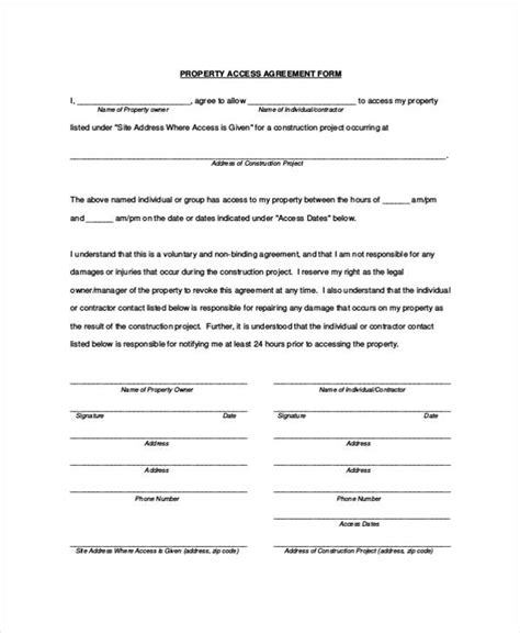 Property Agreement Letter Sle 8 Property Agreement Form Sles Free Sle Exle Format