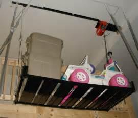 Garage Storage Hoist Platform Powered Electric Hoist Which Includes A Metal Platform For