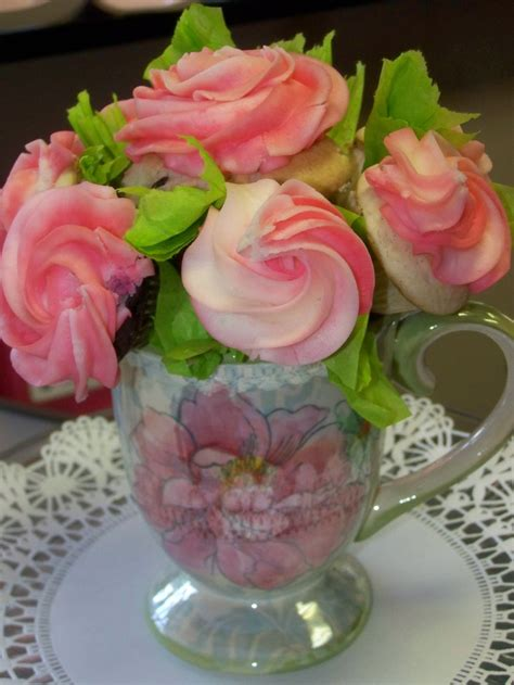 Cupcake Bouquet cupcake bouquet in a glass mug bridal shower and wedding ideas