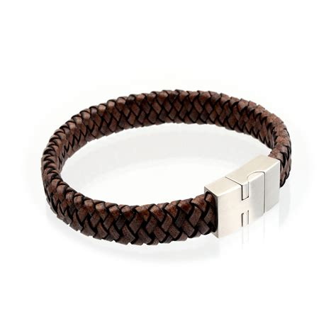 leather bracelets s flat braided leather bracelet 12mm brown richbud
