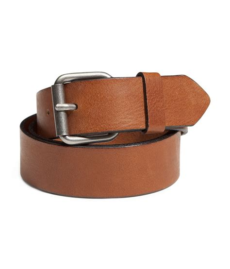 h m leather belt in brown for lyst