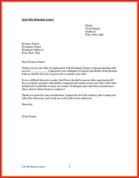 declining a offer letter sop exles