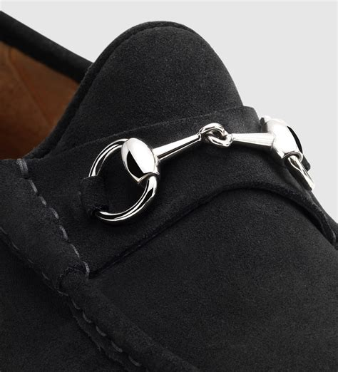 gucci black suede loafers lyst gucci s horsebit loafer in black suede in black