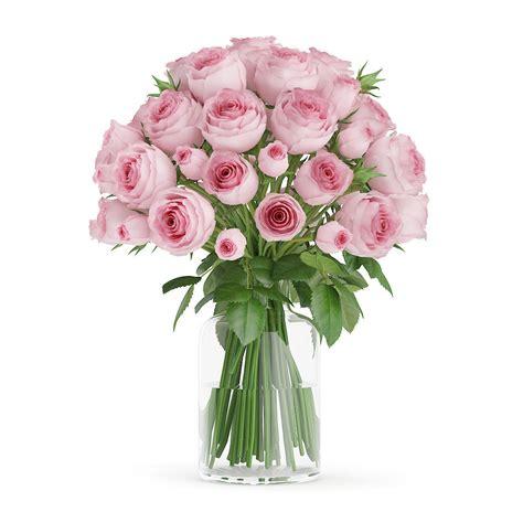 Vase Of Pink Roses by Pink Roses In Glass Vase 3d Model Max Obj Fbx C4d