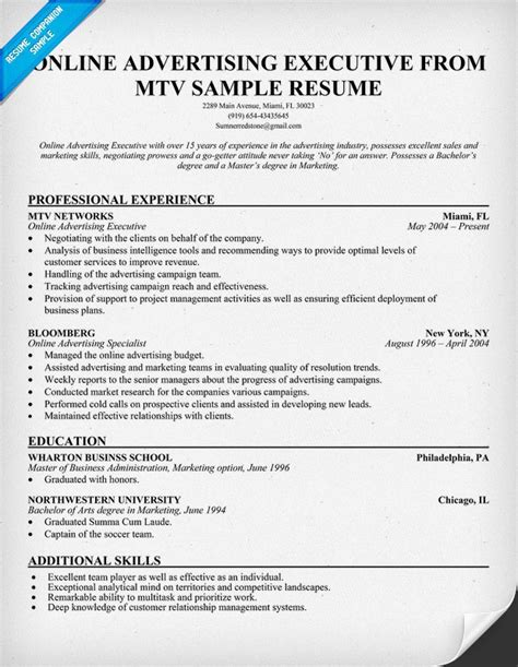 advertising executive resume advertising executive mtv resume exle
