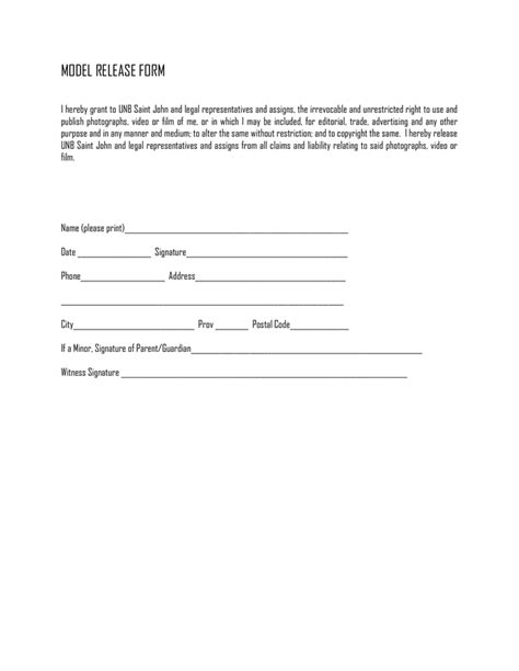 Model Release Form In Word And Pdf Formats Model Release Form Template Word Document
